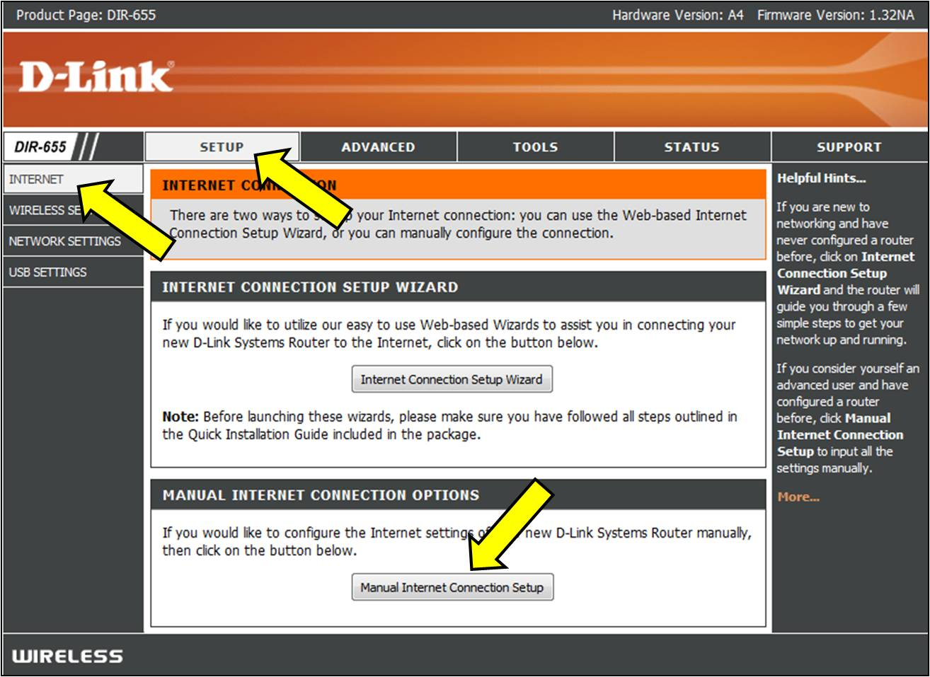 Step 3: Click on Manual Internet Connection Setup at the bottom of the page