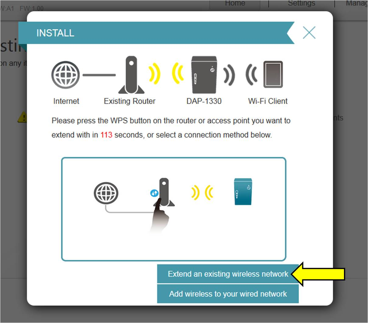 D Link Technical Support Fibe Tv Bell Wiring Diagram Step 4 Select The Option Extend An Existing Wireless Network